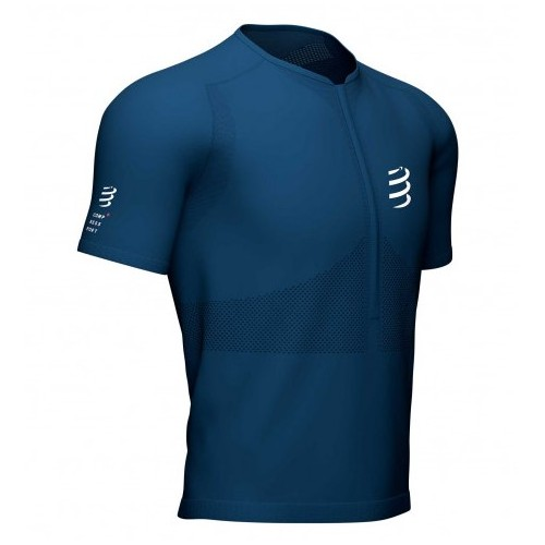 Compressport camiseta Trail Half-Zip Fitted SS Blue