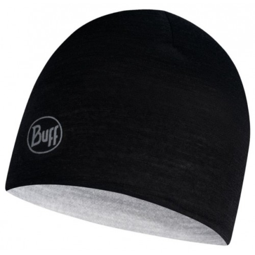 Buff Gorro Lightweight Merino Wool Rever. Kids Hat Black/Grey